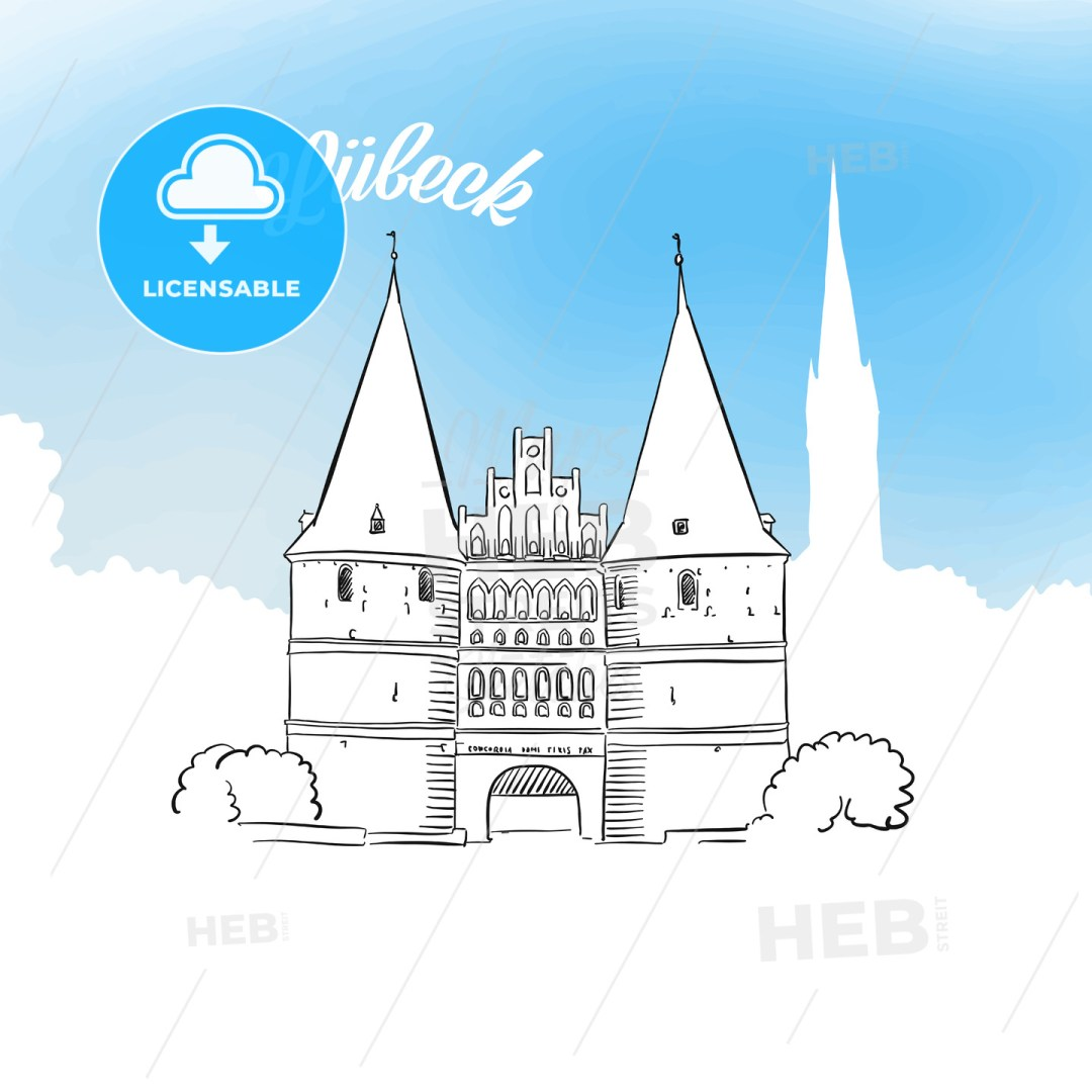Sketch of Holstentor in Lubeck