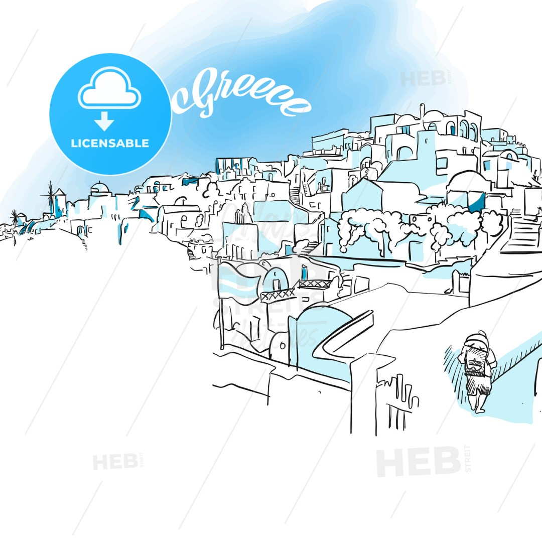 Sketch of Oia, Greece
