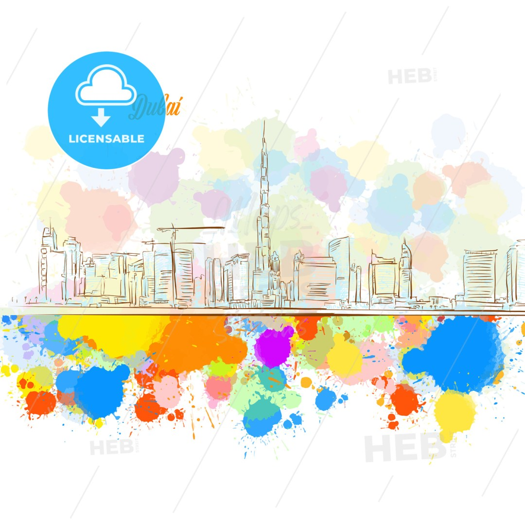 Colorful Dubai City Skyline