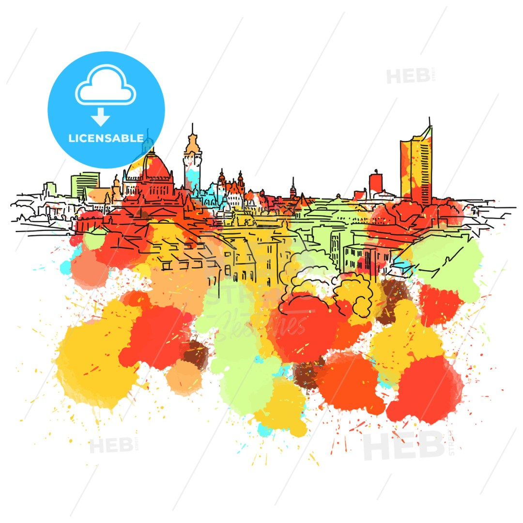 Colorful Leipzig Skyline Sketch