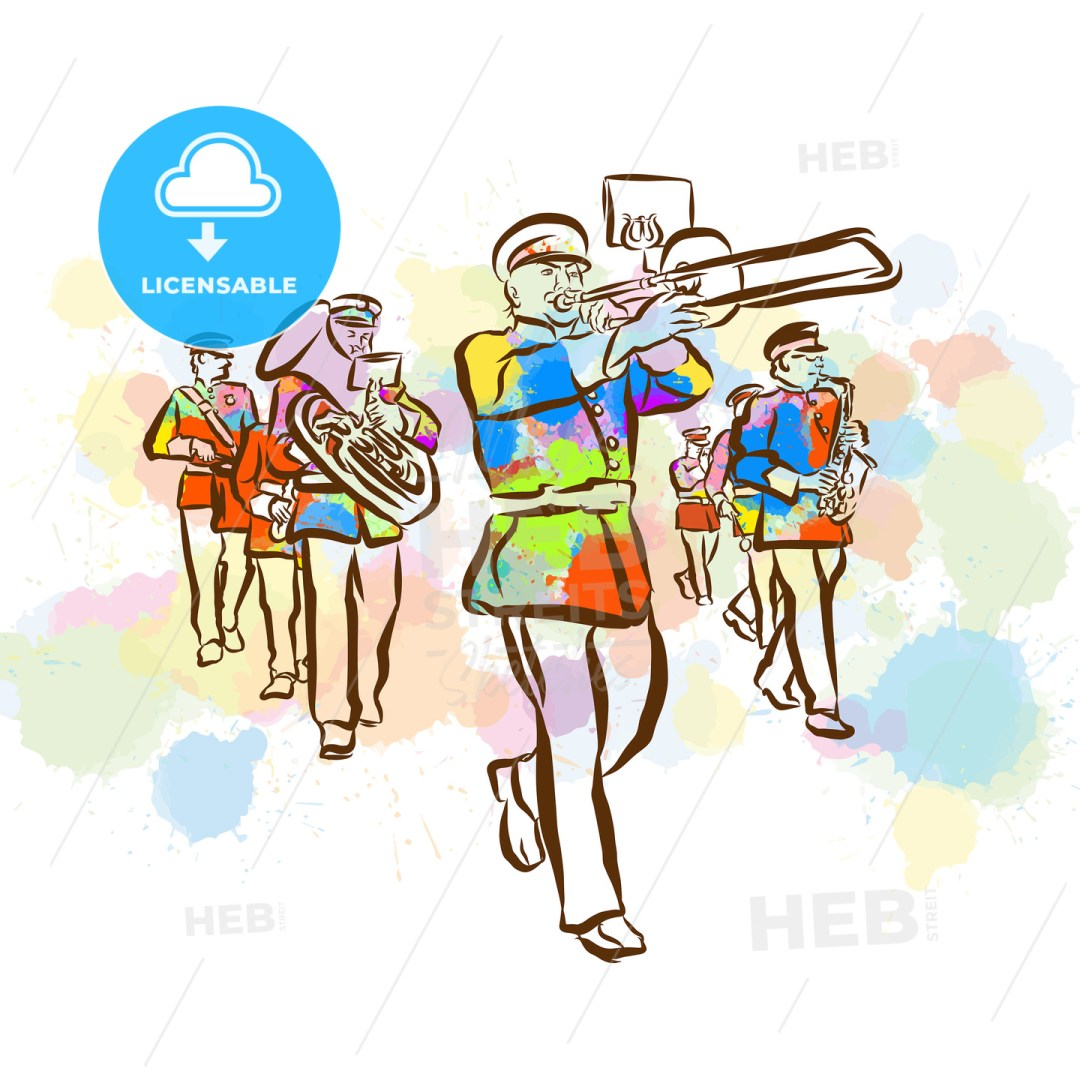 Colorful Marching Band Sketch