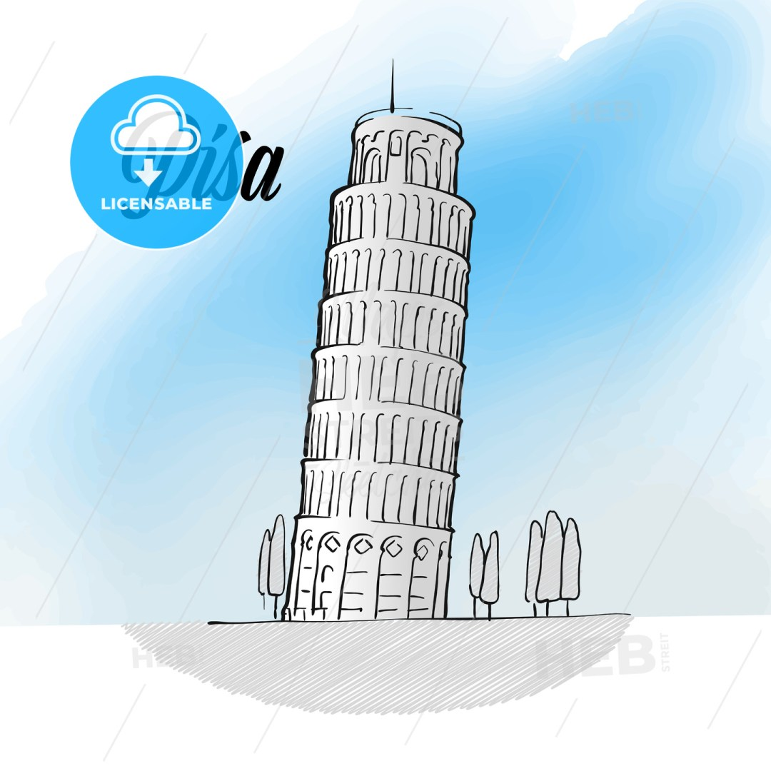 Pisa Tower Landmark Sketch