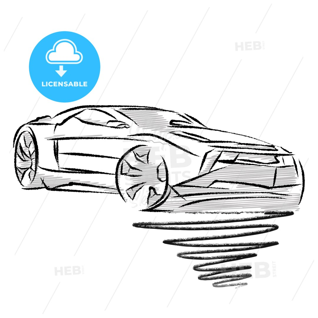 Modern sports car drawing study