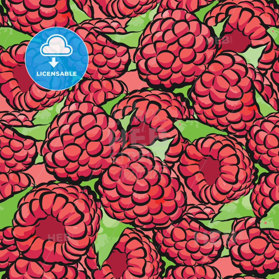 seamless pattern of raspberries