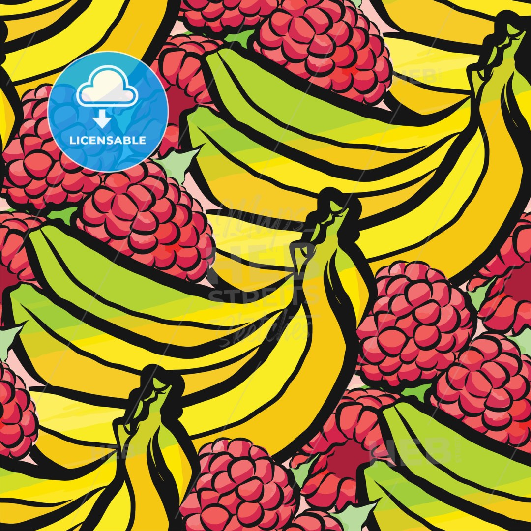 seamless pattern of raspberries and bananas