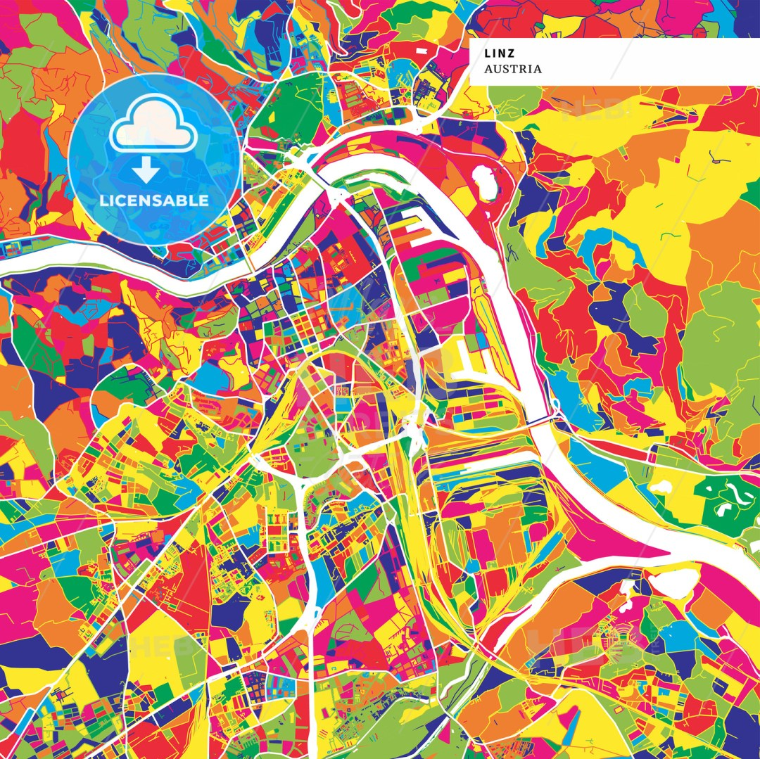 Colorful map of Linz, Austria