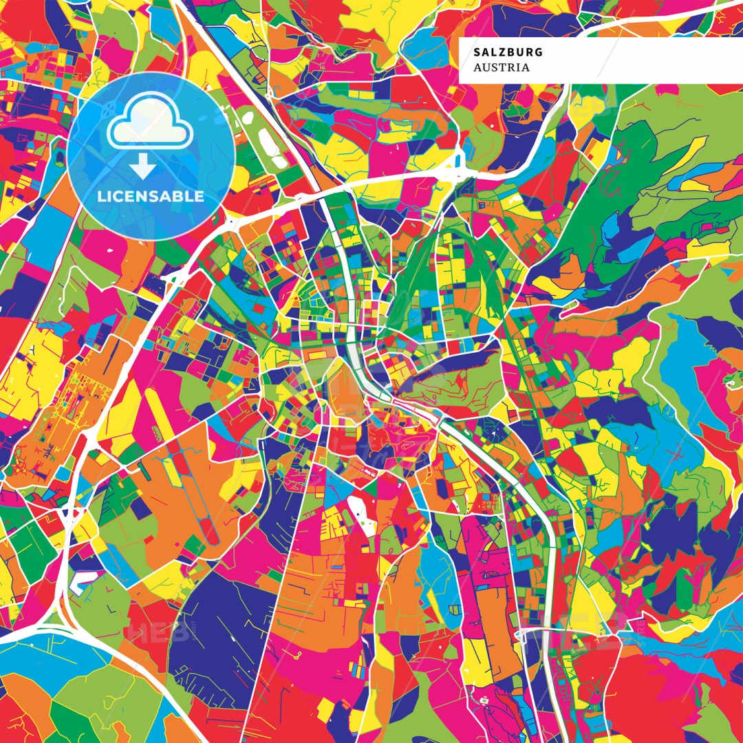 Colorful map of Salzburg, Austria
