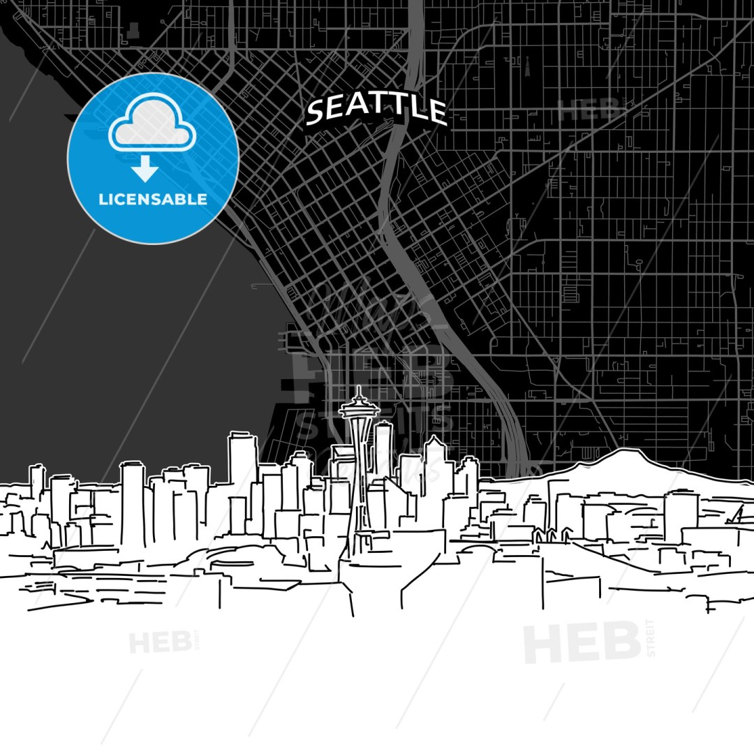 Seattle skyline with map