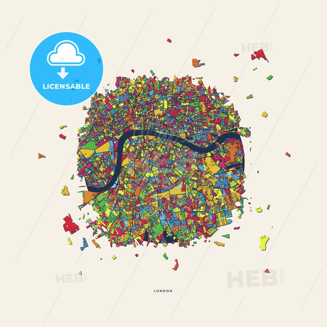 London United Kingdom colorful confetti map