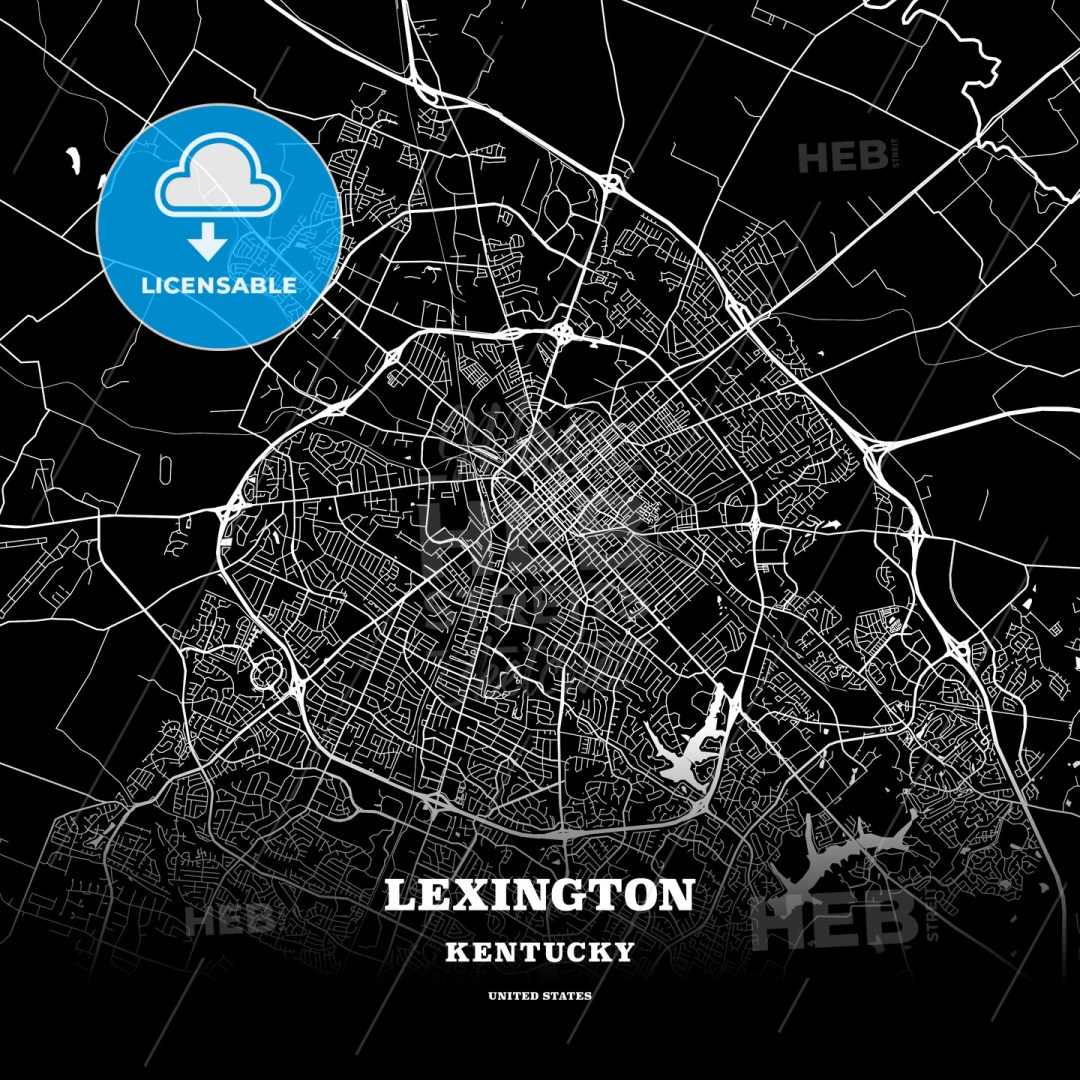 Black map poster template of Lexington, Kentucky