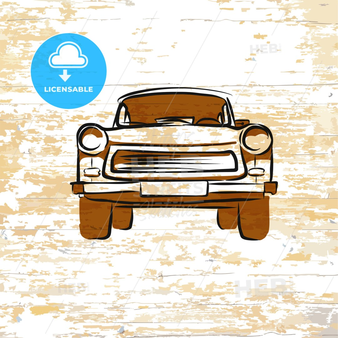 Vintage german car icon on wooden background