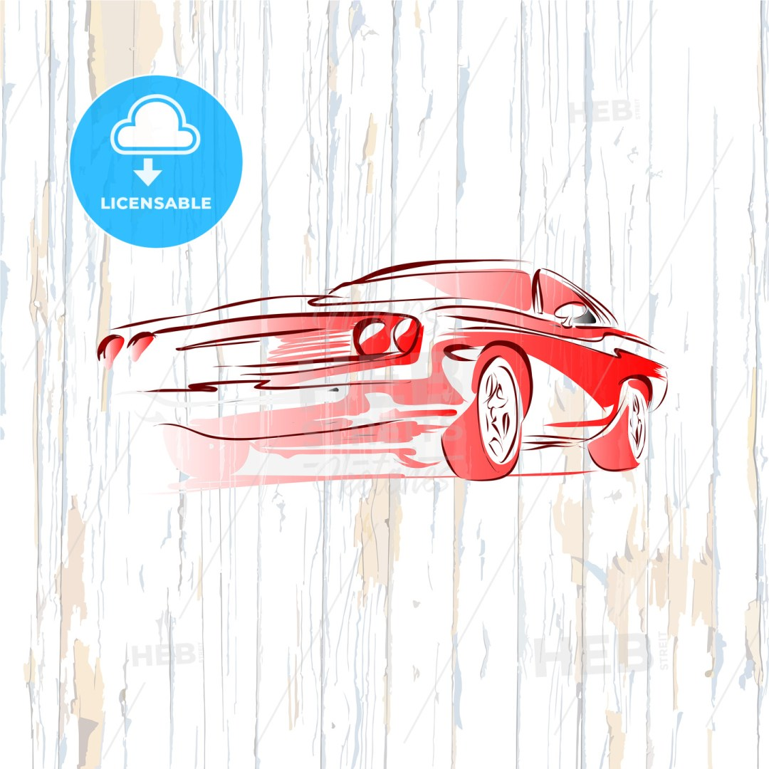 Vintage muscle car drawing on wooden background