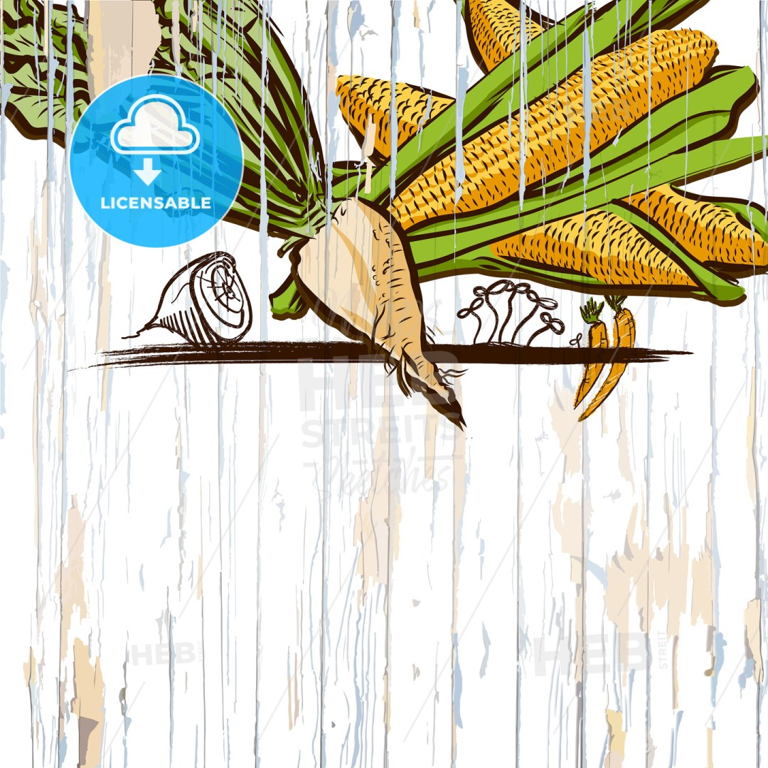 corn on wood menu background
