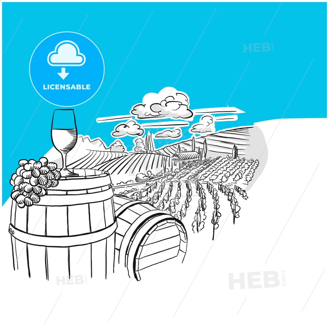 Vineyard landscape with glass drawing