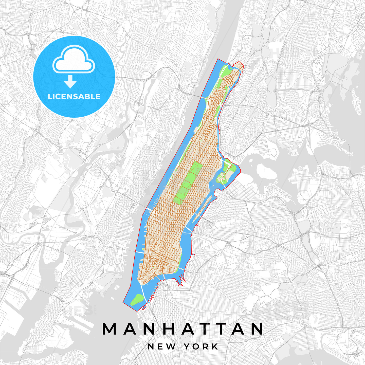 graphic regarding Manhattan Printable Map referred to as Print Templates] [U.S.A.] Vector map of Manhattan, Fresh York