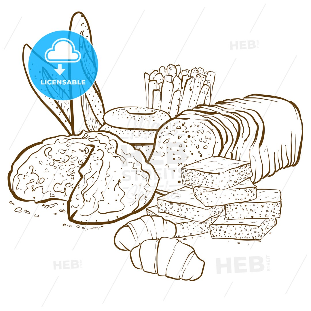 backery composition set of breads