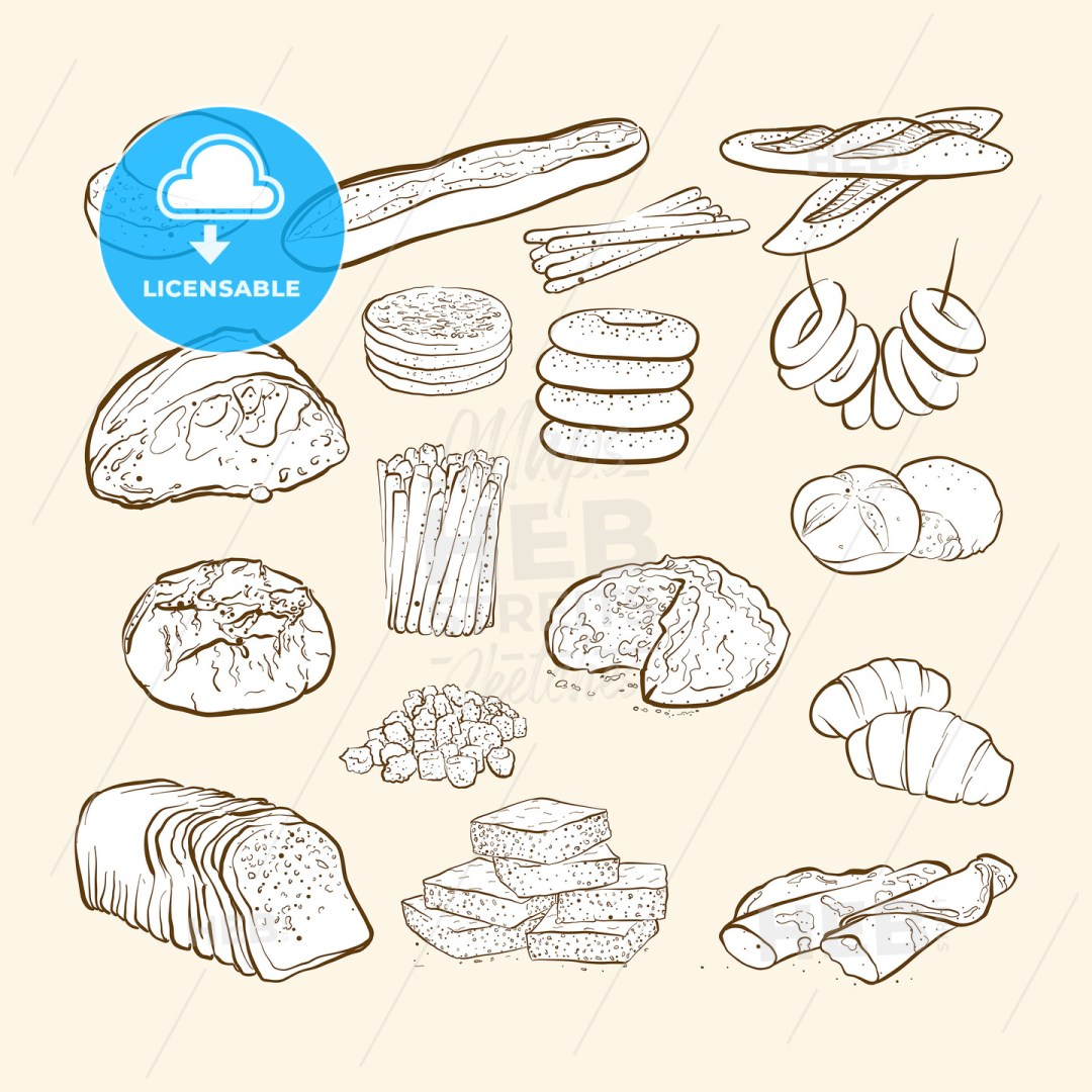breads and bakery icons