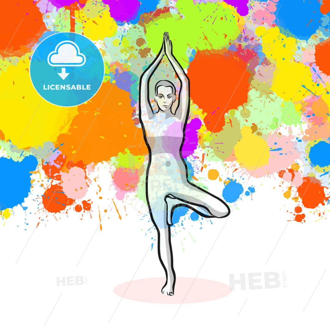 Creative tree Yoga Pose with colorful background