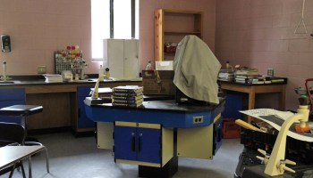 Laboratory equipment sits covered and unused in a Richton, Miss. high school during a 2013 tour. After years of underfunding, the district could not afford to buy the materials needed for laboratory experiments.