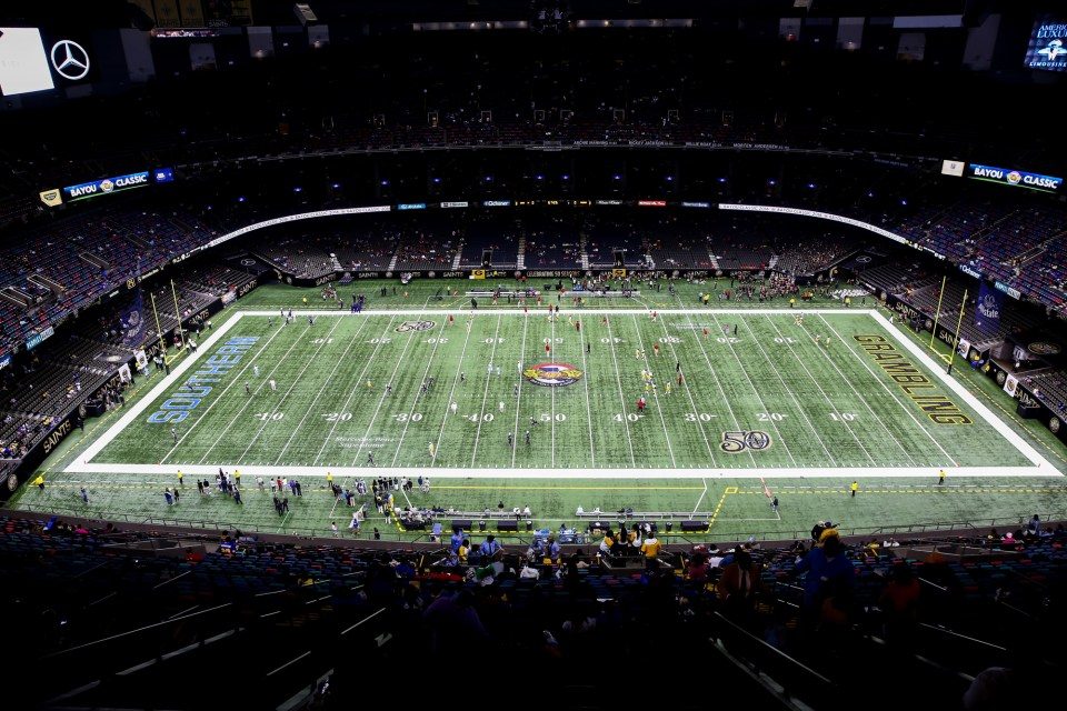 View from the Superdome field before the game between Grambling State Tigers and Southern University Jaguars on November 26, 2016, at the Mercedes-Benz Superdome in New Orleans, LA. Grambling State Tigers won 52-30.