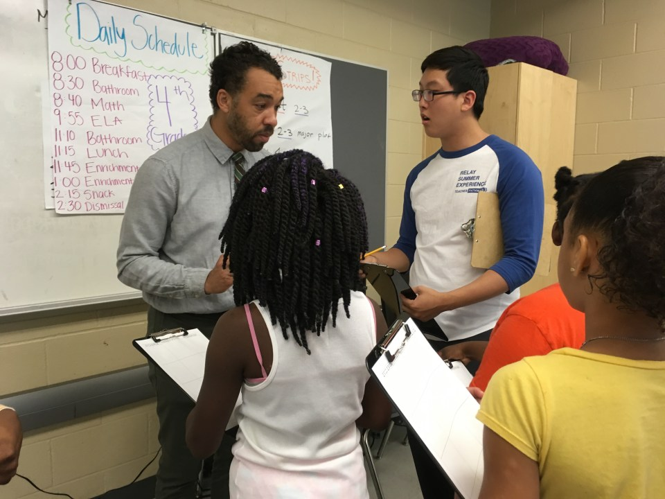 Jabali Sawicki, left, oversees day-to-day operations at the New Orleans summer camp and is also senior director of Inspire for Relay Teacher Pathways.
