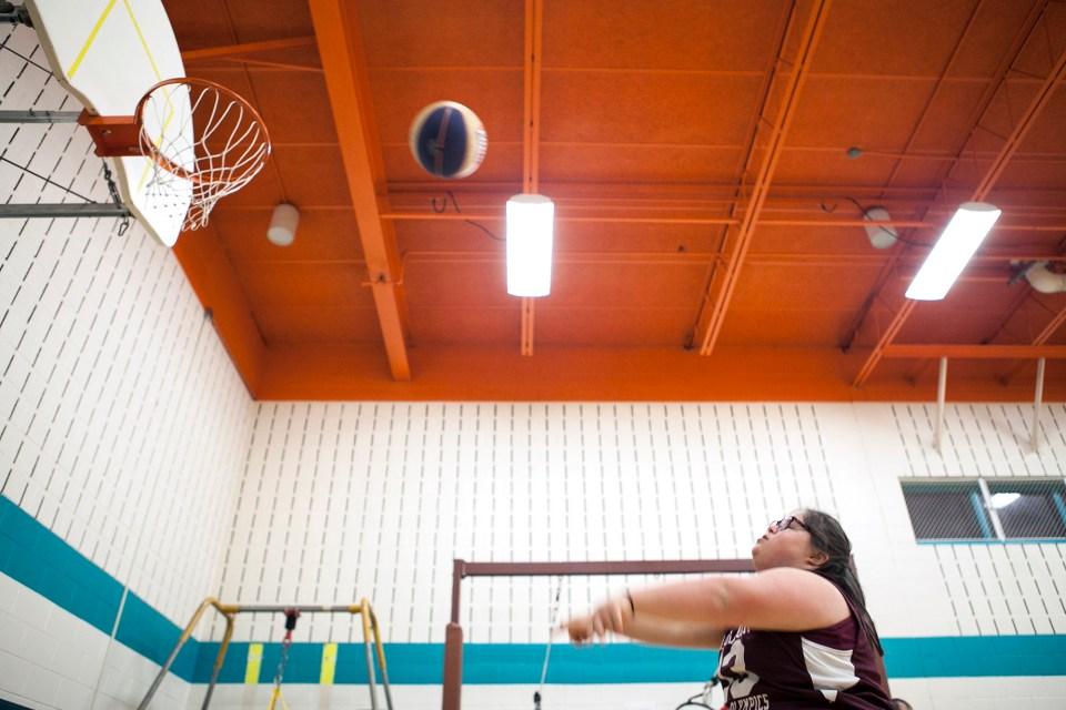 Rebecca Guldan, 14, at basketball practice.