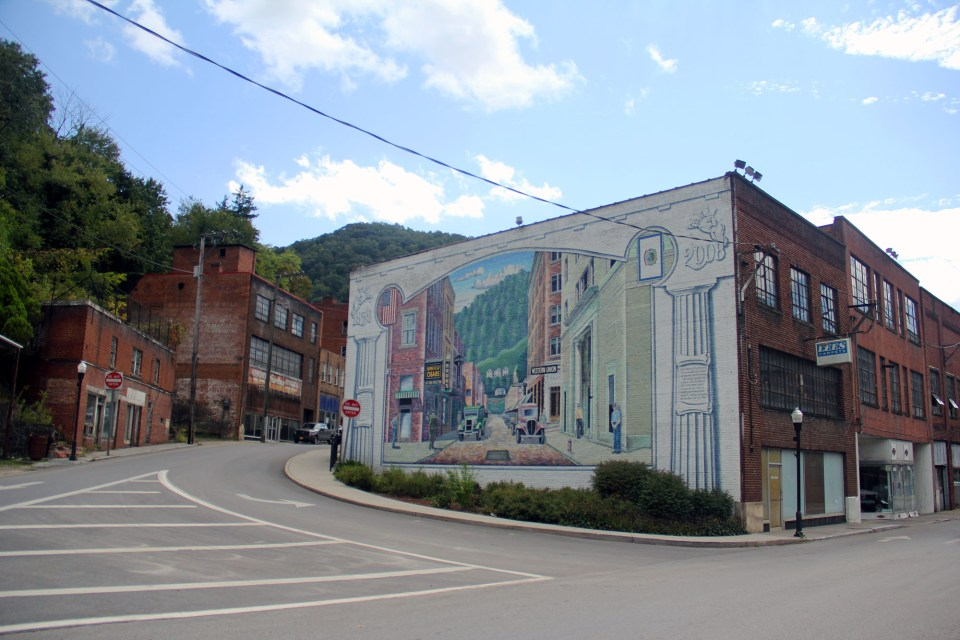 A mural in the town of Welch, the McDowell County seat.