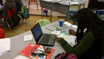 A student at Summit K2, in El Cerrito, California, works on an art project while listening to music. Colorado's Prairie Heights Middle School joins more than 330 partner schools on the Summit Learning Platform nationwide.