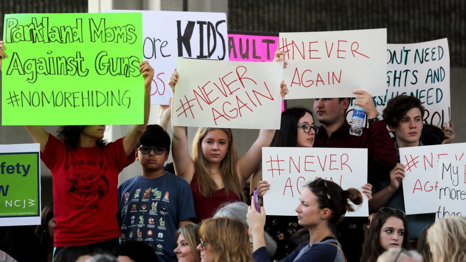 Student protesters from Marjory Stoneman Douglas High School in Florida demand government action on firearms.