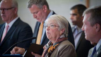 May 12, 2014 - New York City Schools Chancellor Carmen Farina speaks at a public school in Queens, accompanied by Mayor Mayor Bill de Blasio. Farina recently announced her retirement.