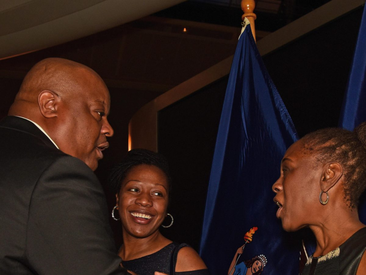 New York City Deputy Mayor Richard Buery greets Chirlane McCray, the city's first lady, at the awards ceremony and celebration in honor of Black History Month at the American Museum in New York City on February 23, 2017.