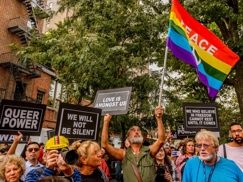 The dedication ceremony of the LGBTQ Rainbow Freedom Flag at The Stonewall National Monument, marking the first time the LGBTQ Rainbow Flag will be displayed permanently in New York City.