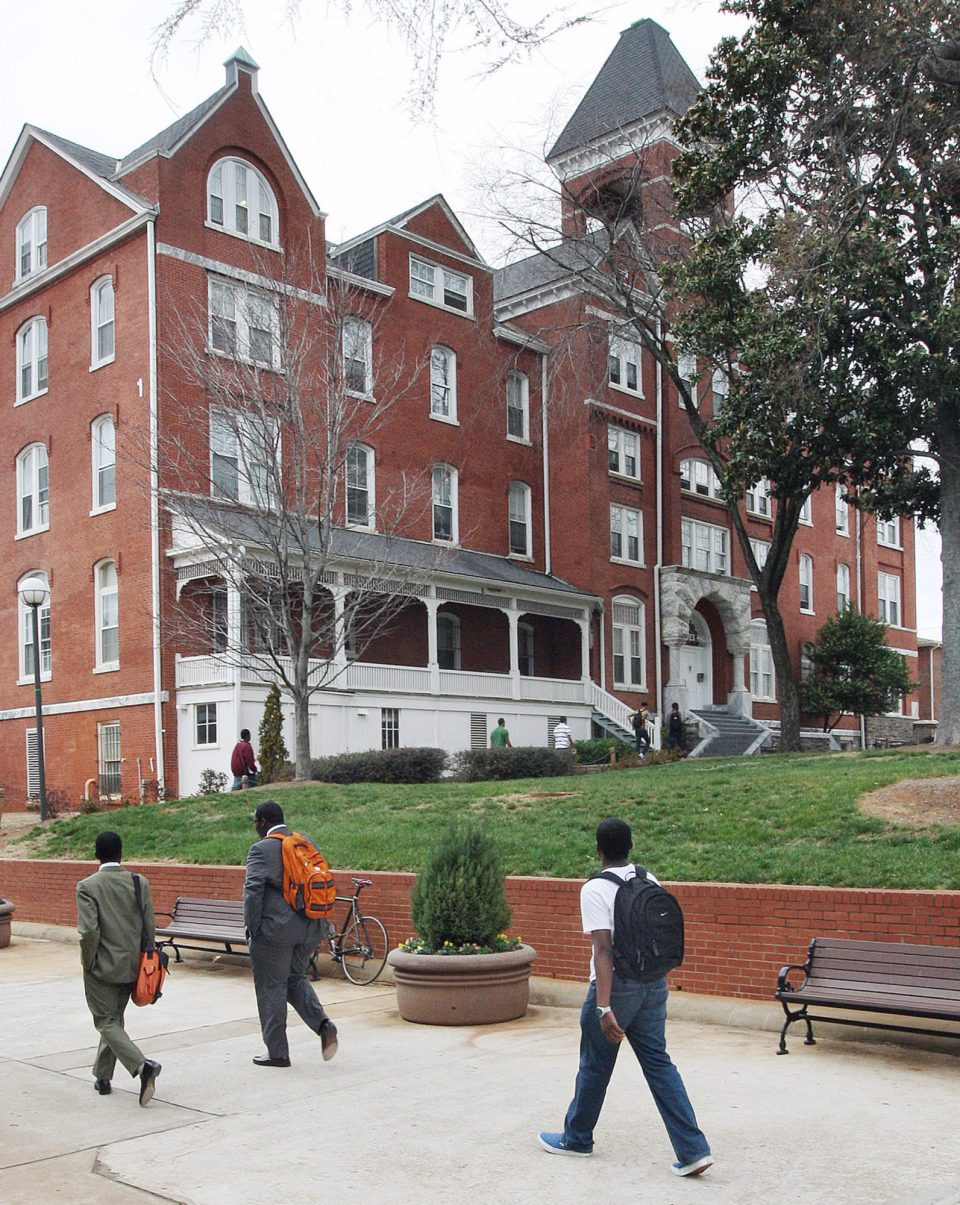 Students walk on the campus of historical Morehouse College in Atlanta Ga.