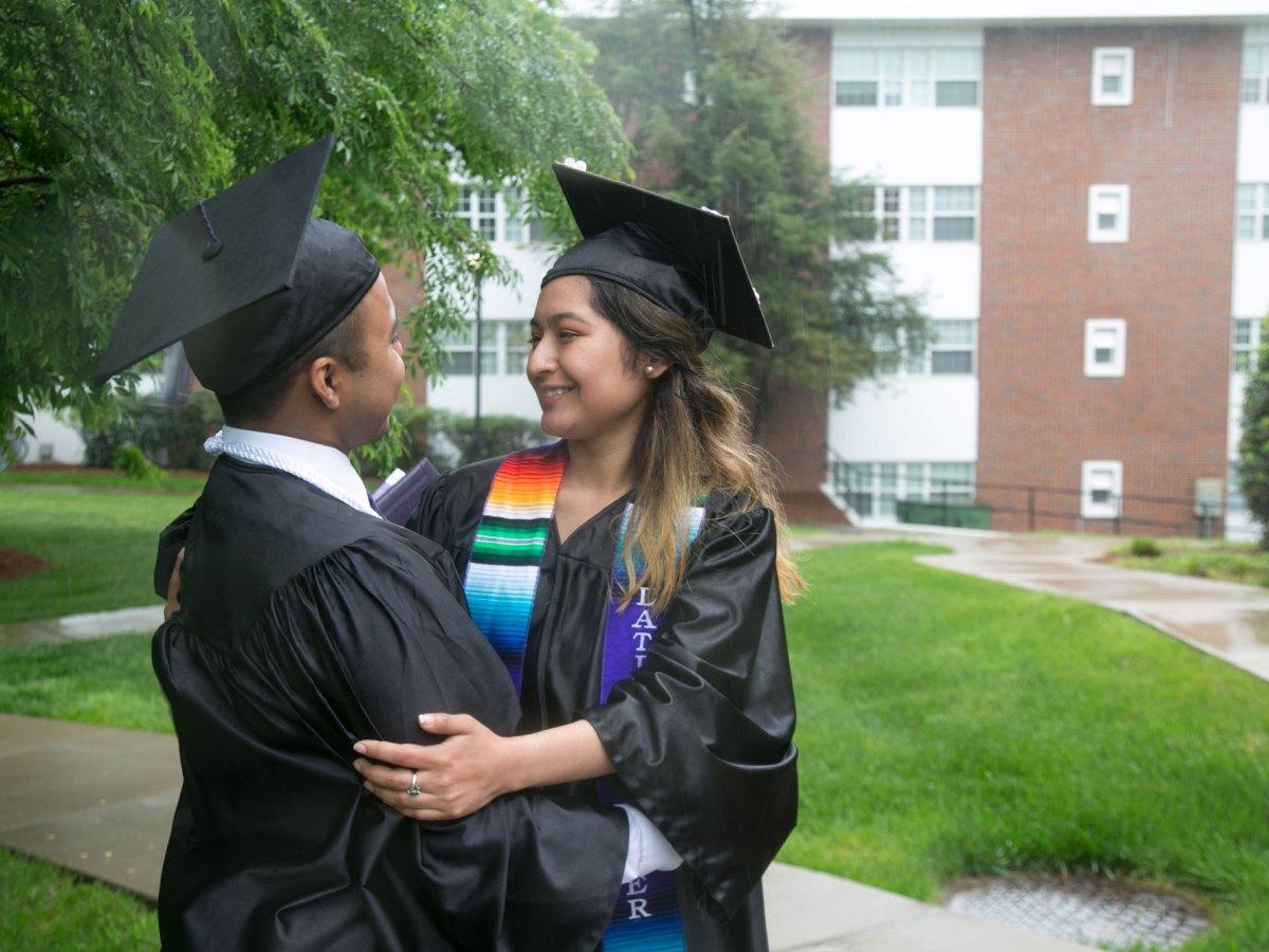 Jacob Maldonado and Maria Campos, friends and DACA recipients, on their graduation day.