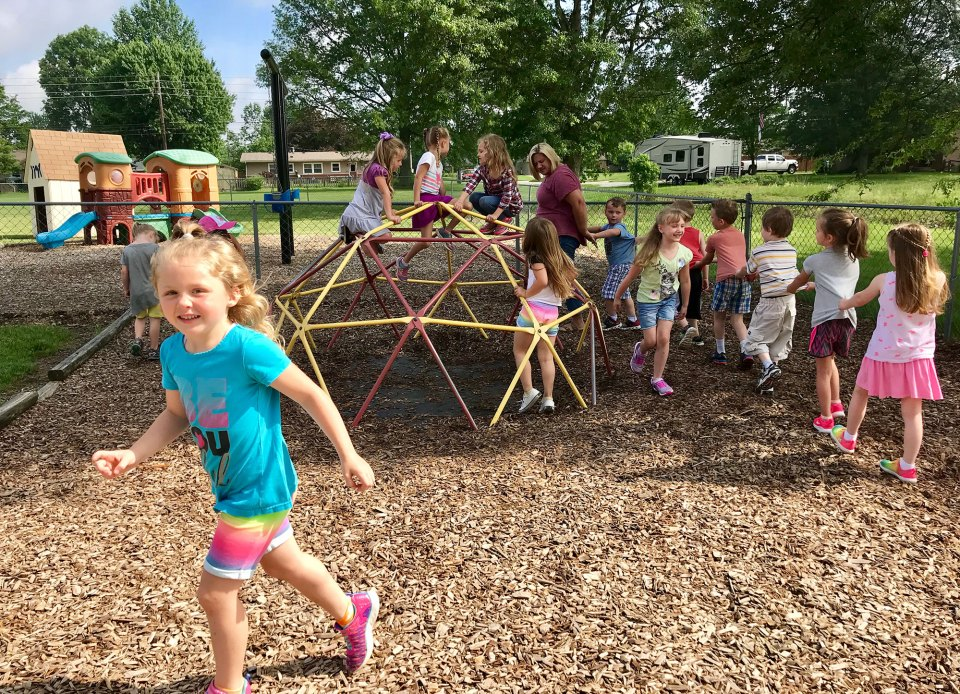 On My Way Pre-K student Vivian Kimberlin, 5, plays during recess at Zion Lutheran School in Seymour, Indiana.