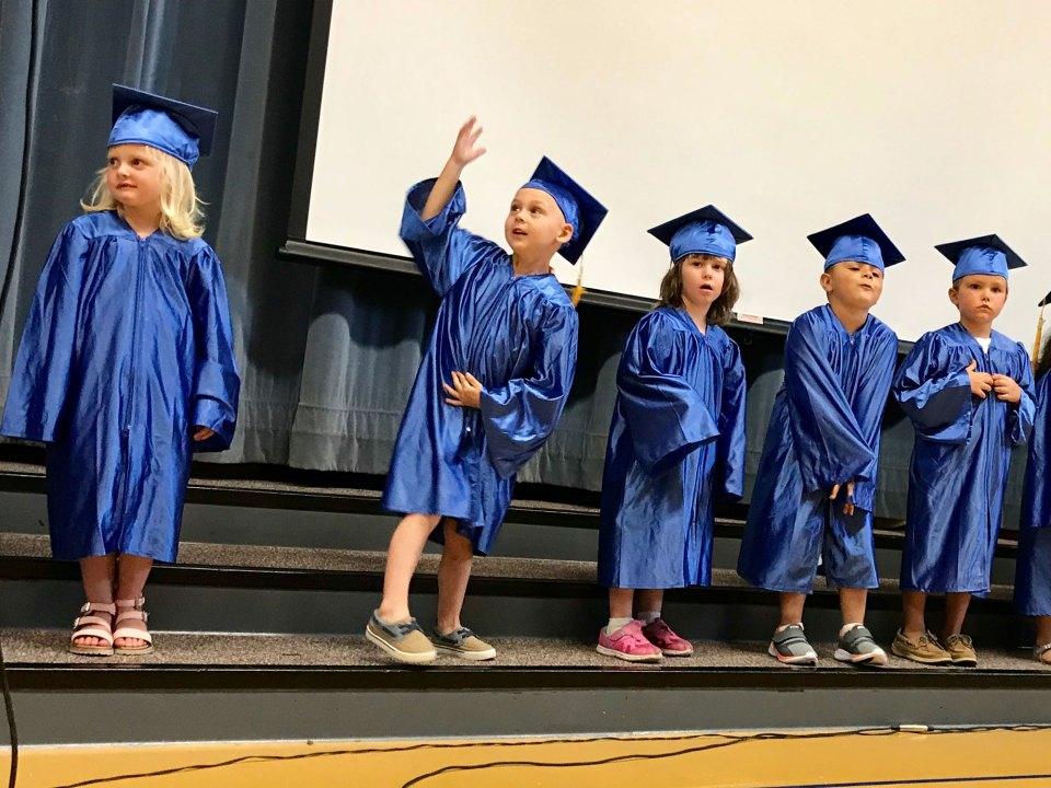 Members of the 2018 pre-K class at Child Care Network Preschool celebrate the end of the school year in Seymour, Indiana.