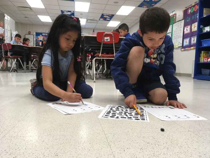 Small-group math work at Prairie Oak Elementary in Berwyn North School District 98 where, two years ago, just 14 percent of third-graders were able to do grade-level math.
