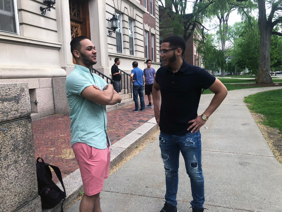 """Dartmouth freshmen Daniel Inoa (right) and Natan Santos had uncomfortable moments as minority students at elite colleges. They were told: """"You look suspicious."""""""