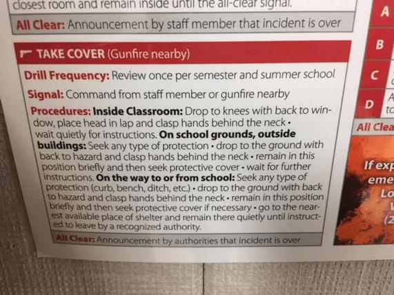 Lockdown instructions posted in Nivia Vizurraga's elementary school classroom.