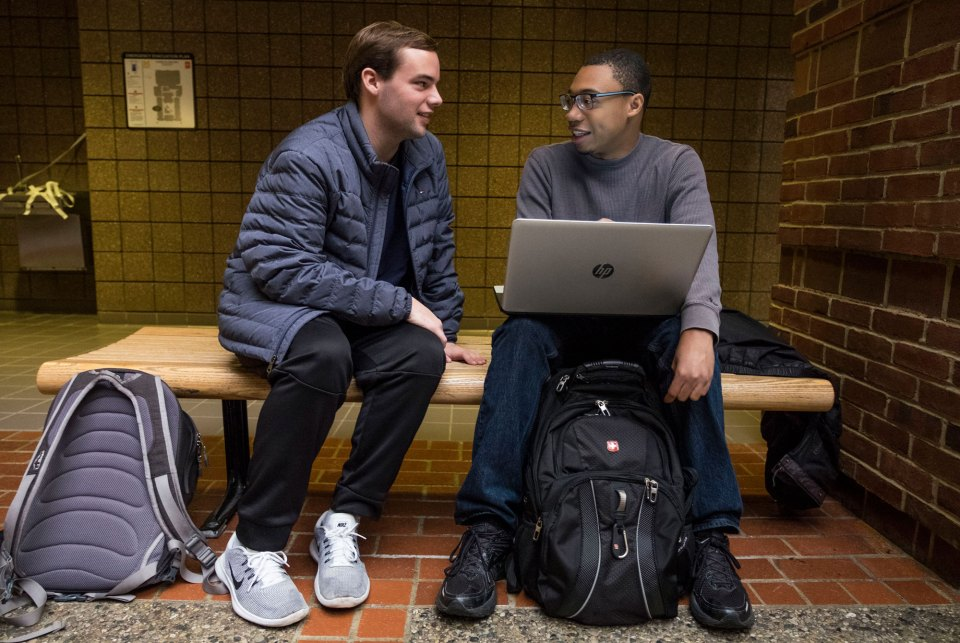 Cameron Russell, left, is a freshman at the University of Michigan from rural Crowley, Louisiana. His mentor as part of a special program for first-generation students is Elijah Taylor, a senior who grew up in Detroit.