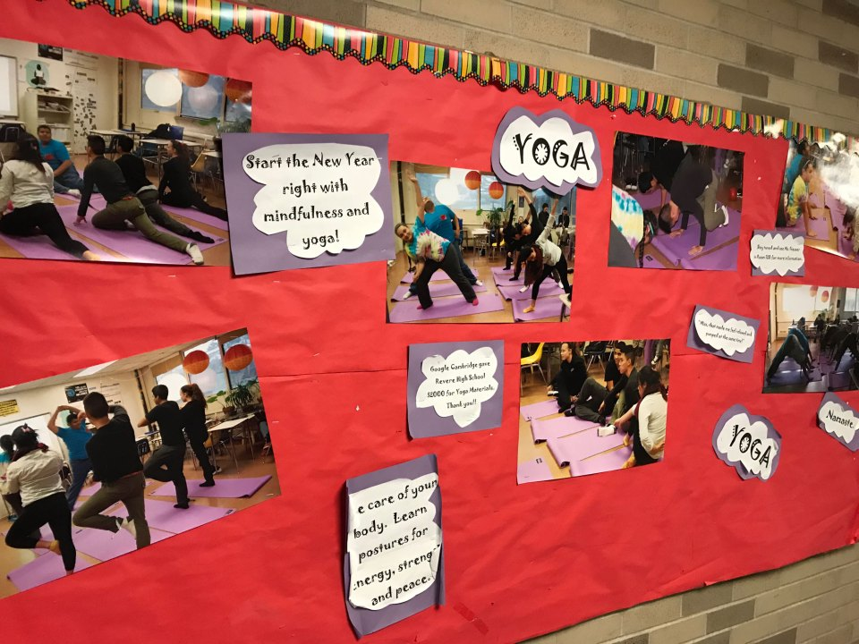Display inviting students to join English teacher Erin Giesser's yoga class at Revere.