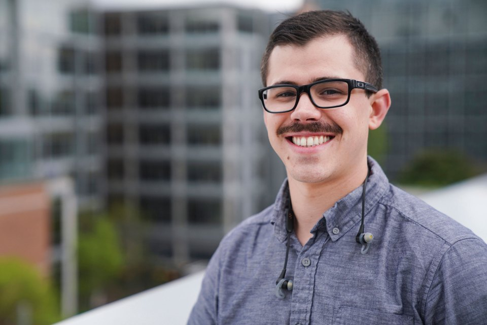 "Zac Mckinster, 28, a Navy veteran and new father, is double-majoring in finance and quantitative economics at Portland State. ""You'd think it could be simpler,"" he says."