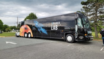 Learning Undefeated's mobile hands-on learning lab sits in a school parking lot.