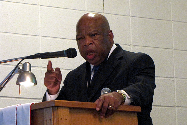 Congressman John Lewis (D-Georgia) urges the crowd at Mt. Zion Baptist Church to continue voting. (Photo: Kayleigh Skinner)