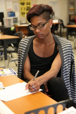 Quincey Bennett, 18, tackles an algebra problem at a program for dropouts called Come Back Kids in Riverside County, Calif. (Photo: Brenda Iasevoli)