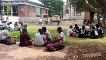 Australian students in their final year of high school take a break during a conference about what to do after graduation. The country is trying to boost its high school completion rates to 90 percent.