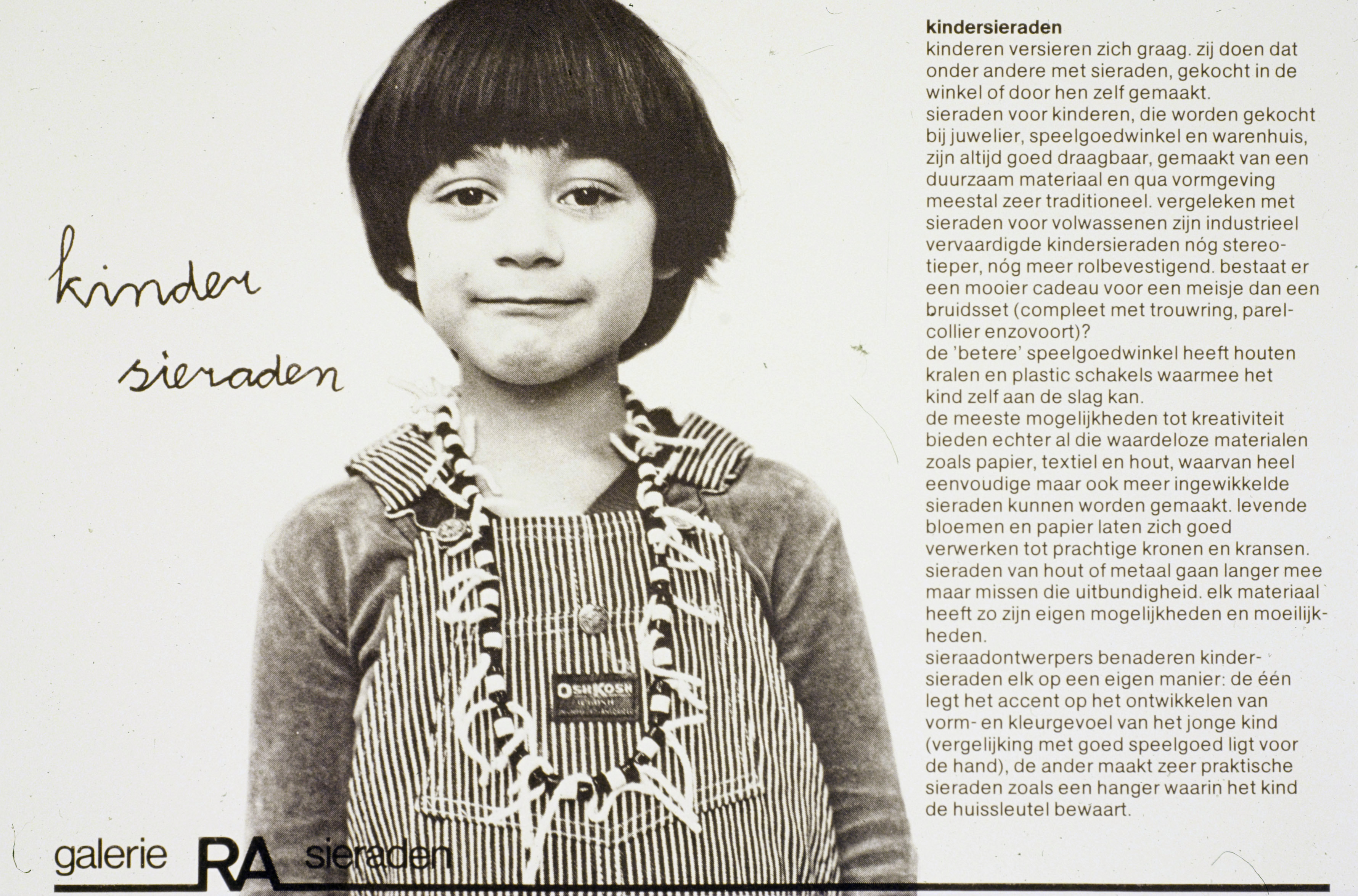 Children-jewellery, jewellery for children by designers and collected from shops, 1979, Galerie Ra