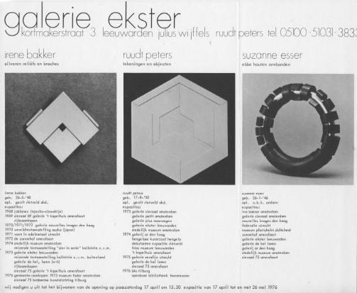 Uitnodiging Galerie Ekster, 1976, drukwerk, foto