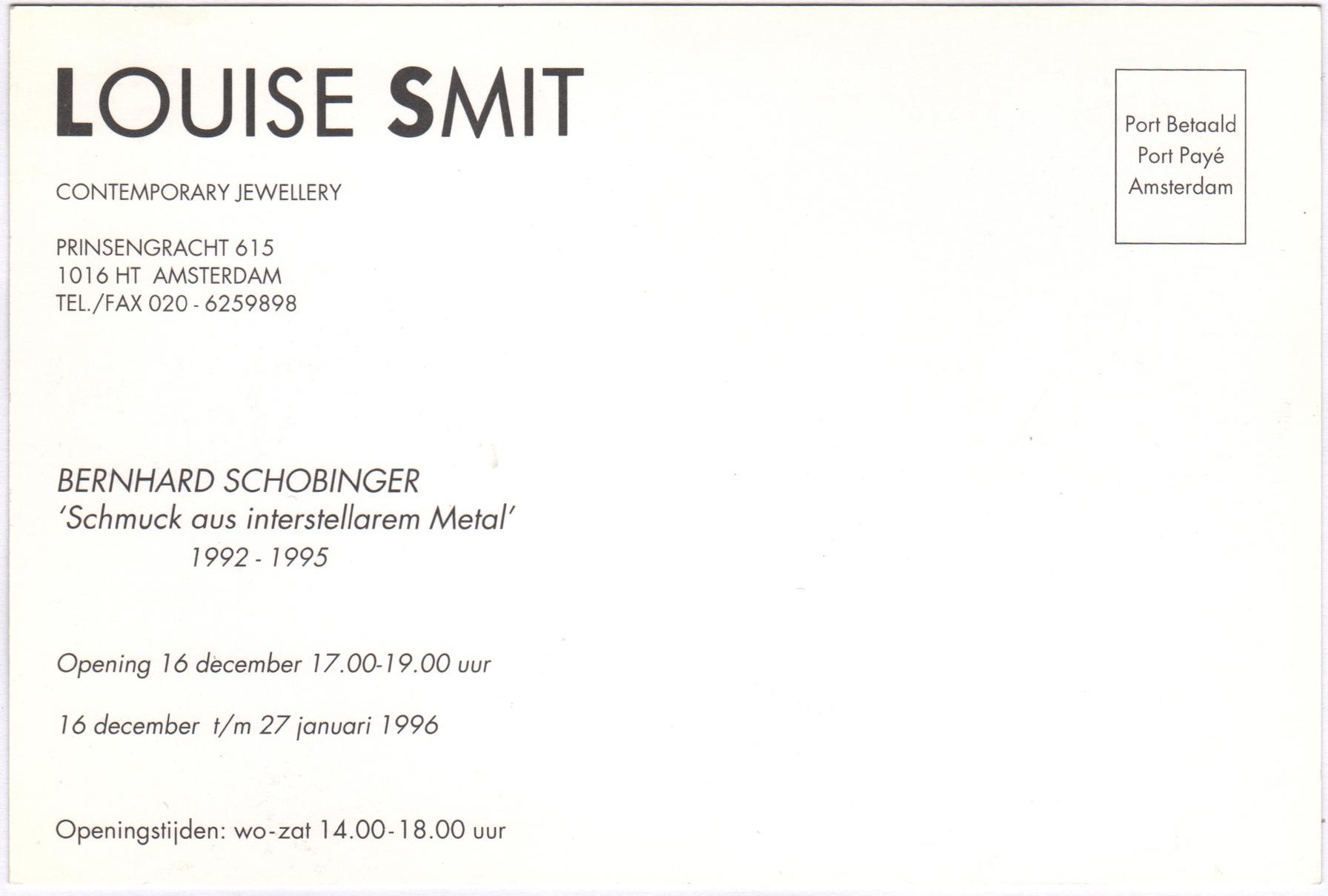 Uitnodiging opening Bernhard Schobinger, 16 december 1996