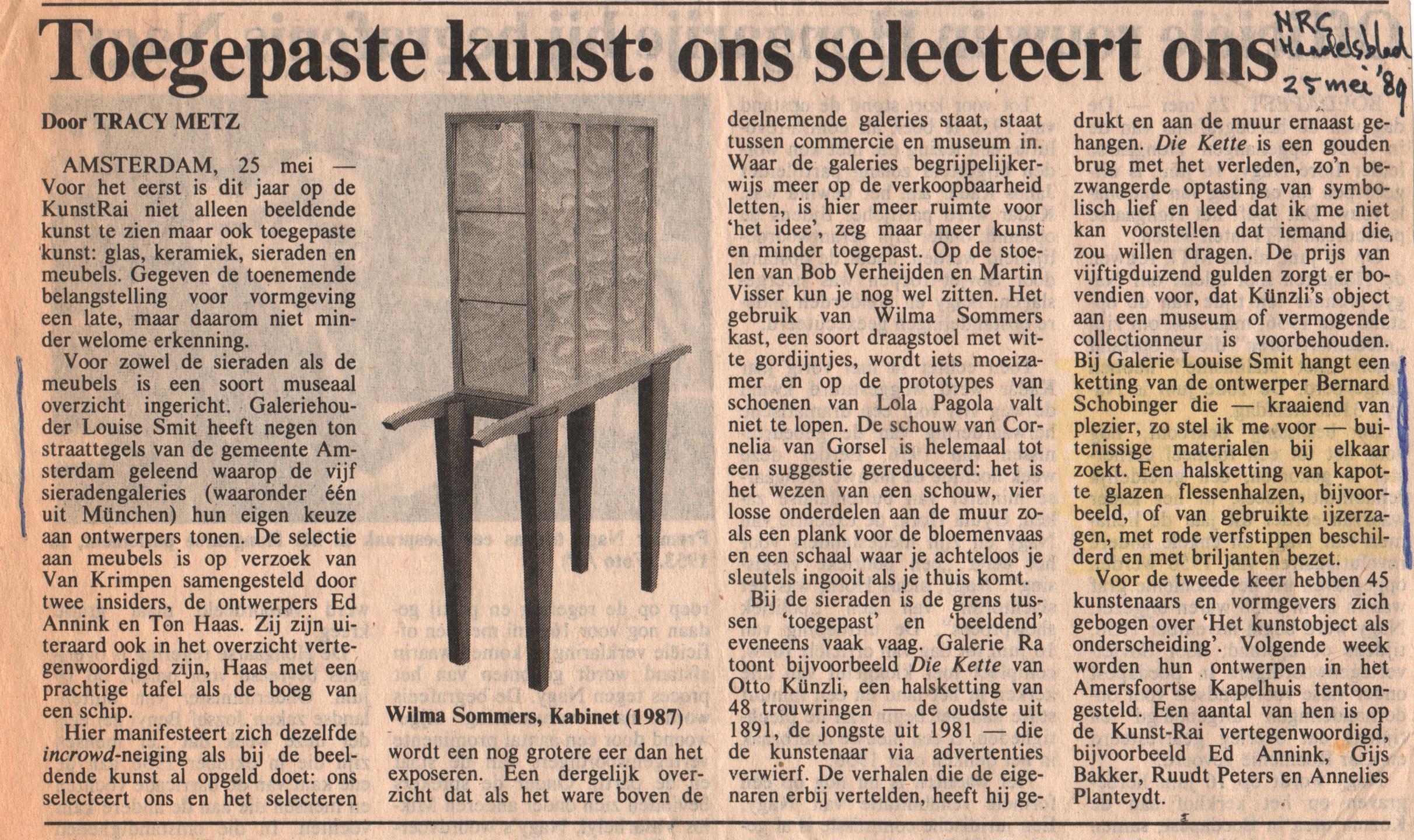 Tracy Metz, recensie KunstRAI, NRC, 25 mei 1989